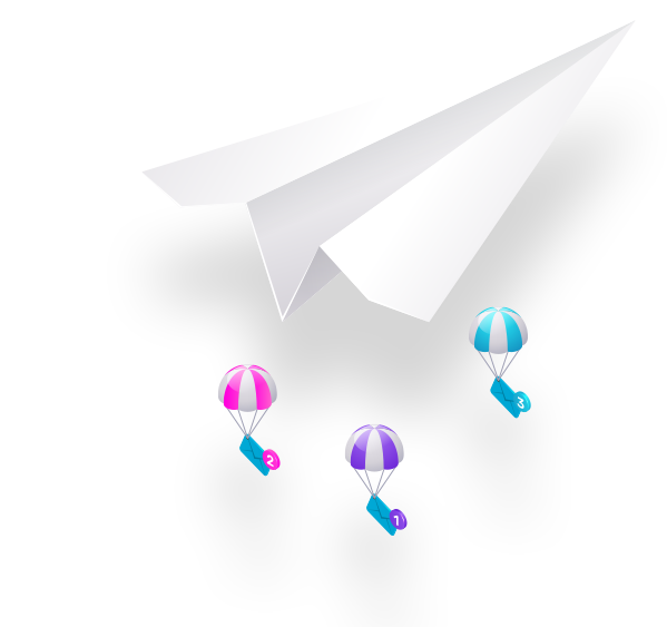 Paper plane that sends newsletter letters
