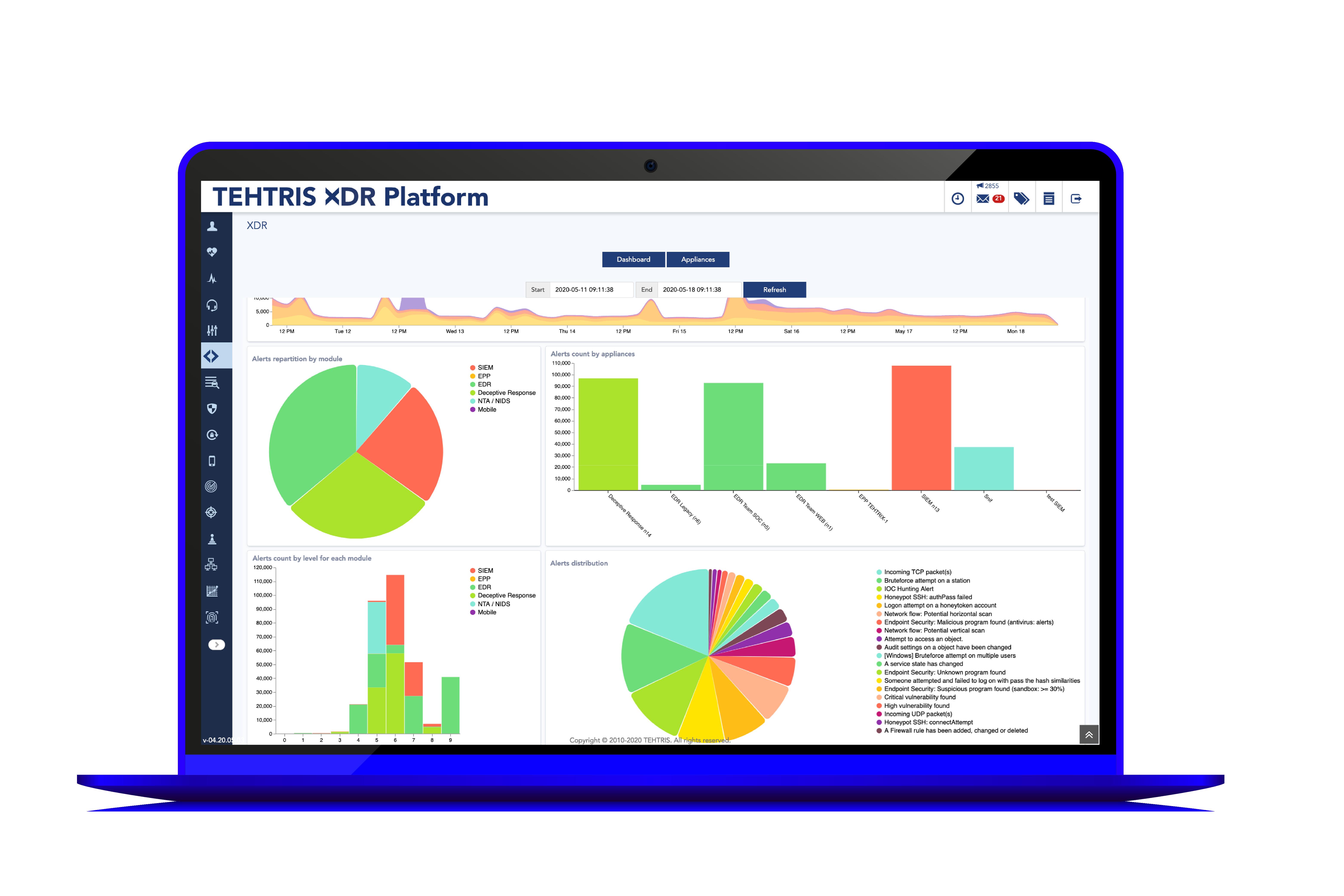 Ordinateur avec TEHTRIS XDR Platform en action