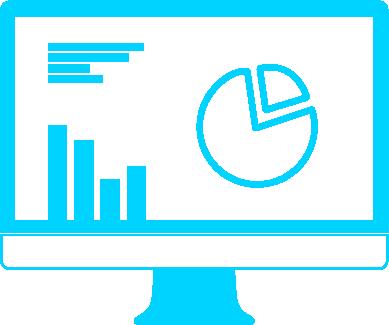 Pictogramme Ordinateur fixe avec illustration graphiques et statistiques à l'intérieur