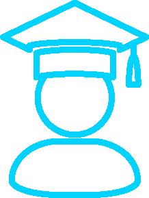 Pictogramme : Personne avec un chapeau d'étudiant diplômé