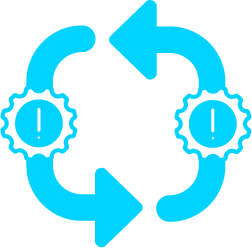 Pictogramme : Infrastructure critique, cercle fléché avec engrenages de chaque côté