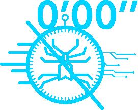 Pictogramme avec un virus barré et un chrono affichant 0 secondes qui illustre l'efficacité de la solution edr de TEHTRIS