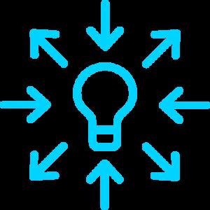 Pictogramme : Flèches pointant vers une ampoule