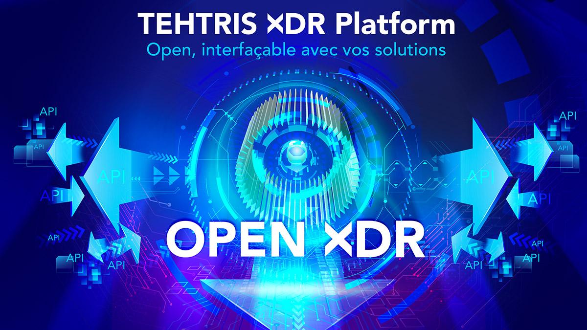 Schéma Open XDR Platform avec des API rentrantes et sortantes
