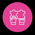 Pictogramme : Mains avec un Puzzle