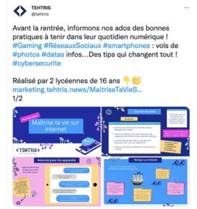 Tweet de TEHTRIS pour former les jeunes à la cybersécurité